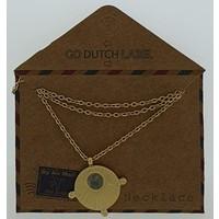GO-DUTCH LABEL Go Dutch Label Kettinkje met hangertje met  een klein steentje Goudkleurig