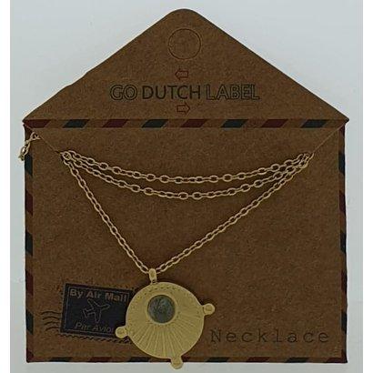 GO-DUTCH LABEL Go Dutch Label Edelstahl Collier Short mit Anhänger mit kleinem Stein Goldfarben mit kleinem Naturstein