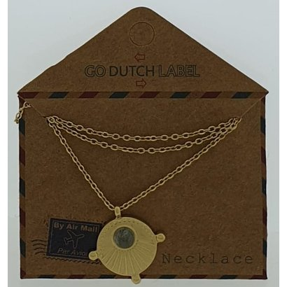 GO-DUTCH LABEL Go Dutch Label Stainless Steel Necklace Short with pendant with a small stone Gold colored with a small natural stone