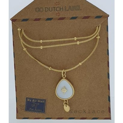 GO-DUTCH LABEL Go Dutch Label Halskette aus Edelstahl, kurz, mit Anhänger in Duppelform und weißem Perlmutt, goldfarben mit einem kleinen Naturstein