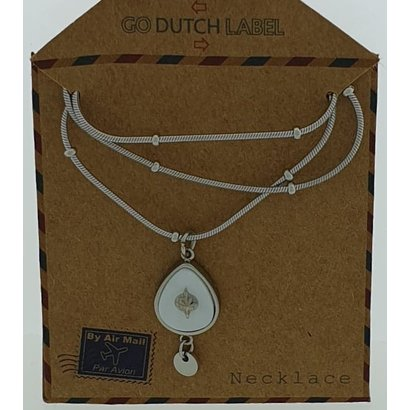 GO-DUTCH LABEL Go Dutch Label Stainless Steel Necklace Short with Duppel-shaped pendant with white mother-of-pearl Silver colored with a small natural stone