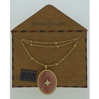 GO-DUTCH LABEL Go Dutch Label Necklace with Oval shaped pendant with natural stone Gold colored