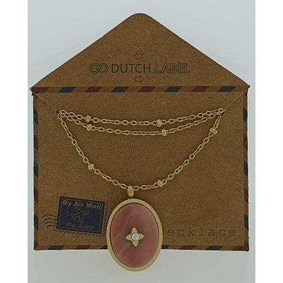 GO-DUTCH LABEL Go Dutch Label Edelstahl Halskette kurz mit ovalem Anhänger mit Naturstein Goldfarben mit einem kleinen Naturstein