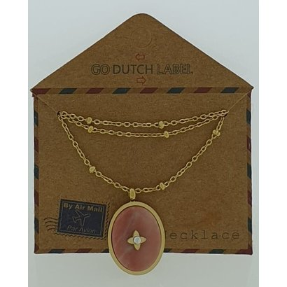 GO-DUTCH LABEL Go Dutch Label Stainless Steel Necklace Short with Oval shaped pendant with natural stone Gold colored with a small natural stone