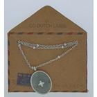 GO-DUTCH LABEL Go Dutch Label Halskette mit ovalem Anhänger aus Naturstein in der Farbe Silber