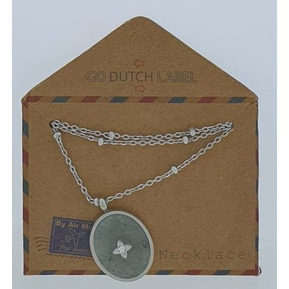 GO-DUTCH LABEL Go Dutch Label Stainless Steel Necklace Short with Oval shaped pendant with natural stone Silver colored with a small natural stone