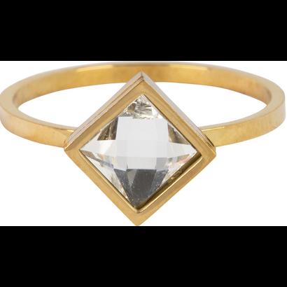 CHARMIN'S Charmins Modern Square Shiny Gold Stahl R729 von der Modeschmuckmarke Charmin's.