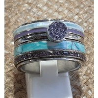 IXXXI JEWELRY RINGEN iXXXi COMBINATIE OF COMPLETE RING BLUE 1080 ZILVERKLEURIG- KIES