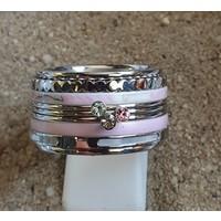 IXXXI JEWELRY RINGEN iXXXi COMBINATIE OF COMPLETE RING PINK 07  1089 ZILVERKLEURIG- KIES