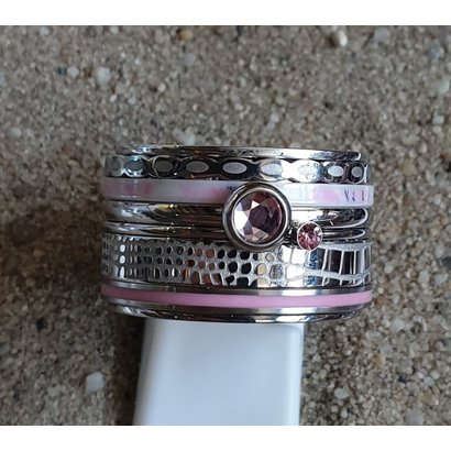 IXXXI JEWELRY RINGEN iXXXi COMBINATION OR COMPLETE RING PINK 08 1090 SILVER- CHOOSE