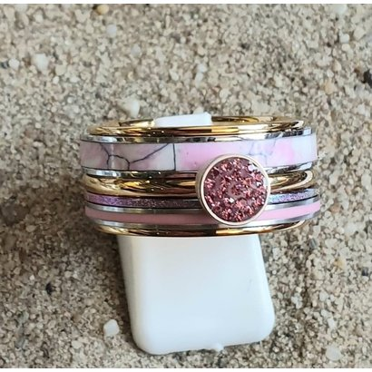 IXXXI JEWELRY RINGEN iXXXi COMBINATION OR COMPLETE RING PINK 10 1092 GOLDEN- CHOOSE
