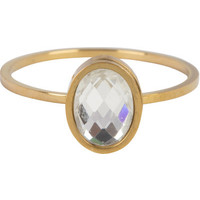 CHARMIN'S Charmins ring Modern Oval Crystal CZ Steel Gold