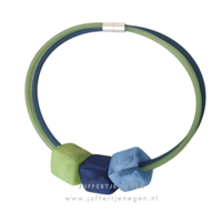 CUBE COLLECTION CUBE NECKLACE Blue Green with 3 Cubes