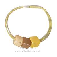 CUBE COLLECTION CUBE NECKLACE Mizuhiki Yellow Corn Shiny with 3 Cubes