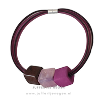 CUBE COLLECTION CUBE KETTING Royal 5  lijns Aubergine Old Pink met 3 Cubes