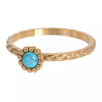 IXXXI JEWELRY RINGEN iXXXi Jewelry Vulring Inspired Turquoise 2mm Goudkleurig