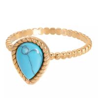 IXXXI JEWELRY RINGEN iXXXi Jewelry Vulring Magic Turquoise  2mm Goudkleurig