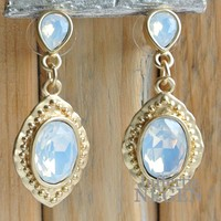 Earrings 20x45mm Mat gold Baroque white opal