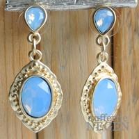 Ohrringe 20x45mm Mat Goldbarock Opal Blau