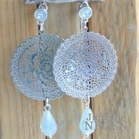 Earrings 42x80mm Filligrain silver with drop