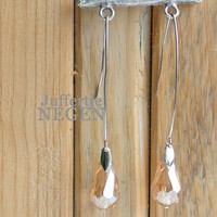 Earrings 12x72mm silver with faceted glass champagne drop