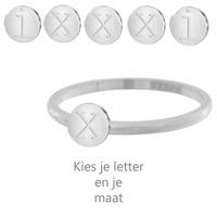 IXXXI JEWELRY RINGEN iXXXi Schmuck Washer 0,2 cm Stahl Alphabet Silber