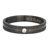 IXXXI JEWELRY RINGEN iXXXi Jewelry Vulring 0.4 cm Staal Sandblased Cristal Stone Ring Black