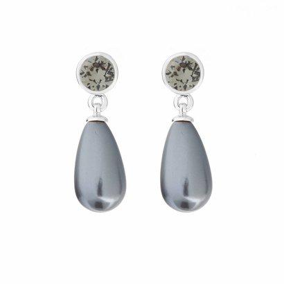 BIBA OORBELLEN Biba oorhangers met een bungelende Swarovski Grey parel aan een steker zilverkleurig.