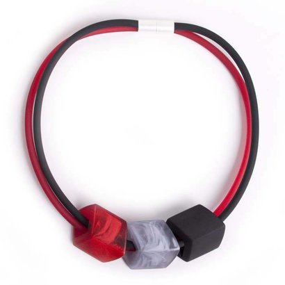 CUBE COLLECTION CUBE NECKLACE Red Black with 3 Cubes Red, Gray, Black CUBE