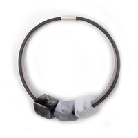 CUBE COLLECTION CUBE NECKLACE Grey Light 3 Cubes