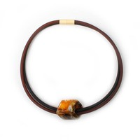 CUBE COLLECTION CUBE NECKLACE Black Brown 1 Cube