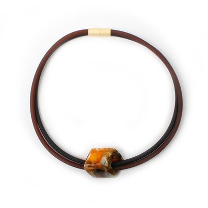 CUBE COLLECTION CUBE KETTING Zwart Bruin met 1 Gold Black CUBE