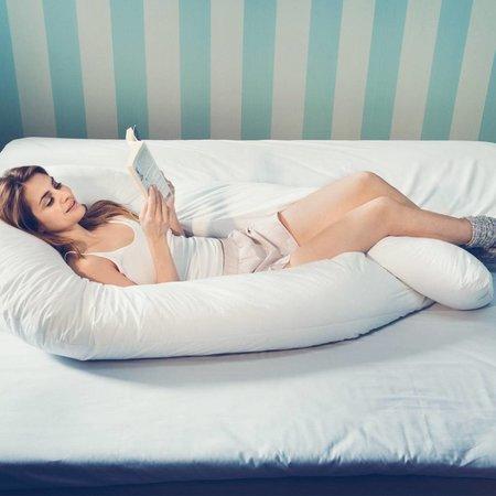 Fossflakes Comfort-U Senior Seitenschläferkissen - inkl. Jersey Bezug Weiß
