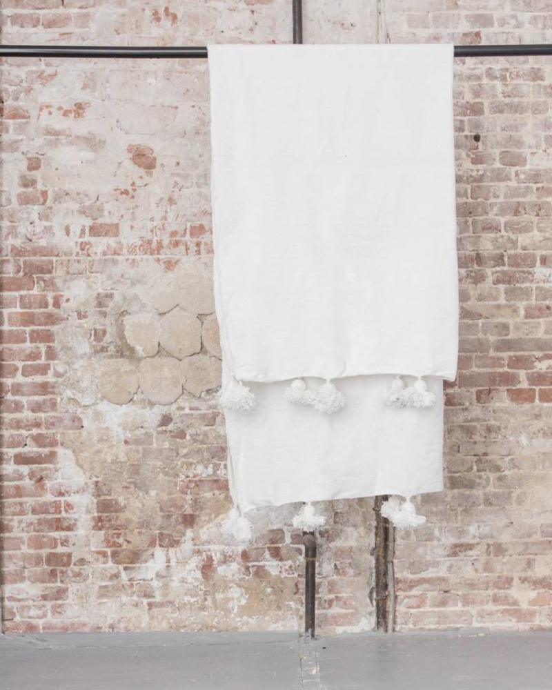 Handgemaakte Berber pompom deken XL