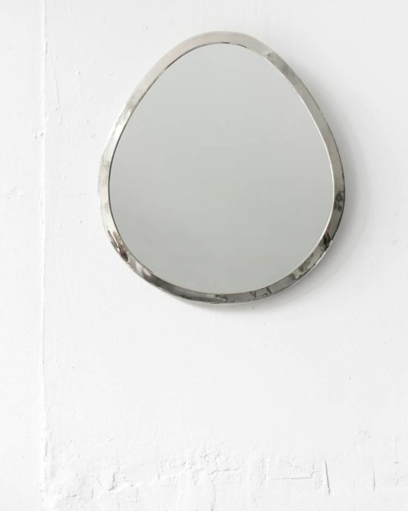 Silver colored drop mirror from Morocco