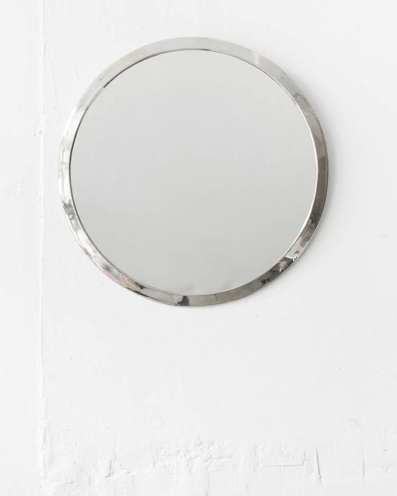 Silver colored round mirror from Morocco