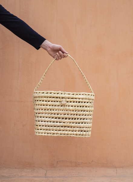 Handwoven palm leaf basket - L