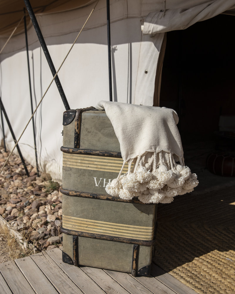 Handgemaakte Berber pompom deken L