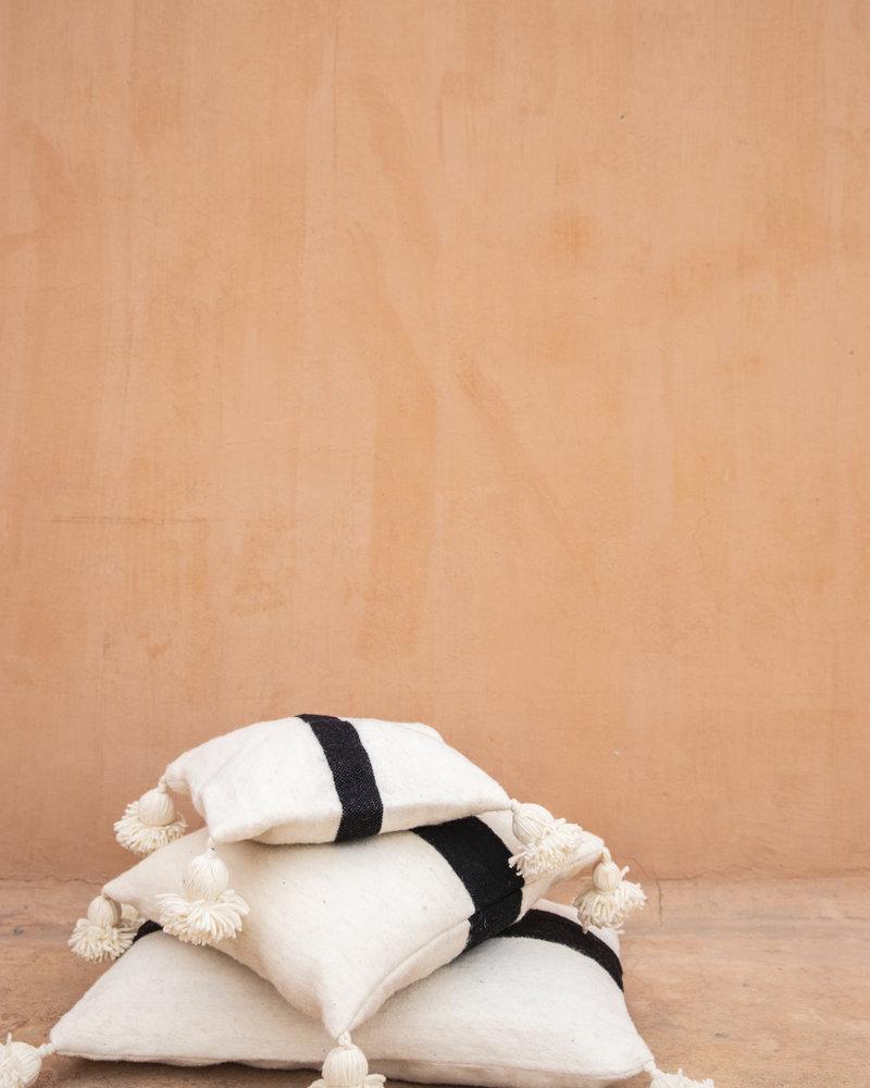 Handwoven pom pom pillow S