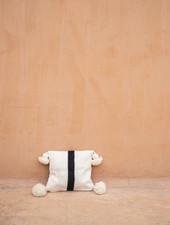 Handwoven pom pom pillow - wool S