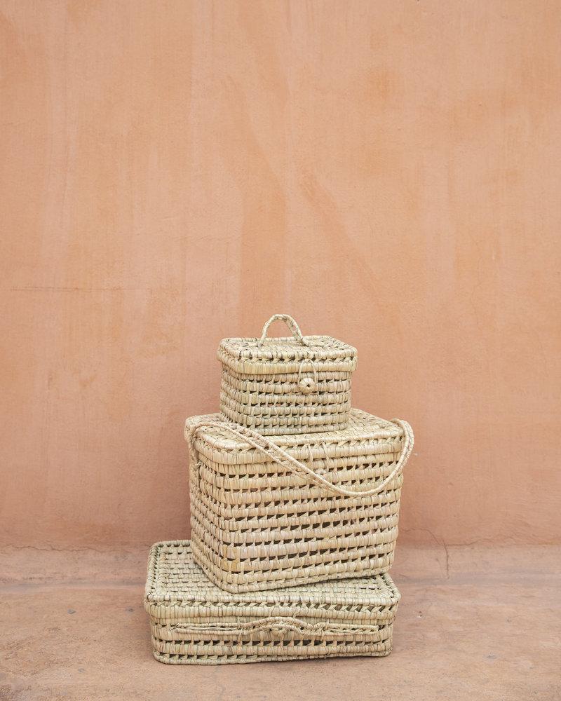 Handgeweven palmblad mand - S