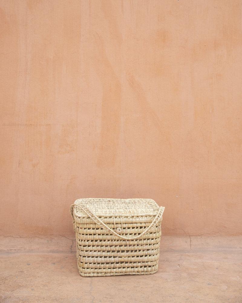 Handgeweven palmblad mand - L