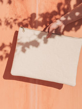 MoiTu laptop sleeve off white cotton