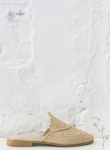 Raffia schoenen naturel