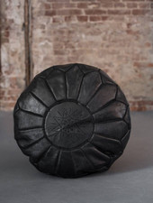 Handmade leather pouf - black