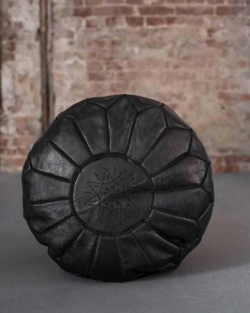Handmade leather pouf - black