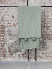 Berber pompom deken M - groen