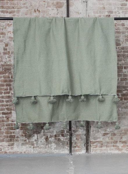 Berber pompom blanket L - green