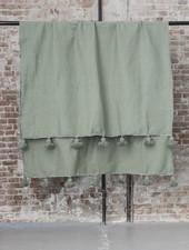 Berber pompom deken XL - groen