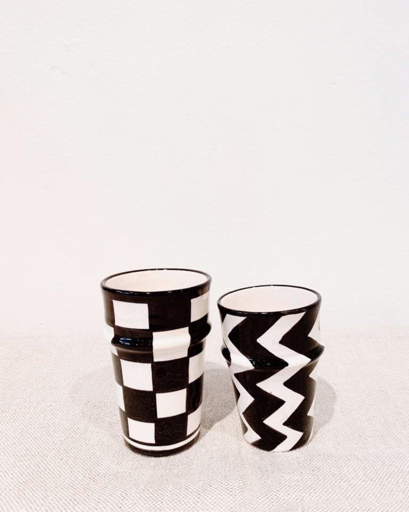 Mug - zigzag print  - black/white - S